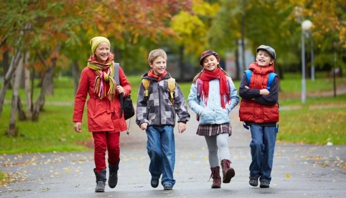 Children walking outside